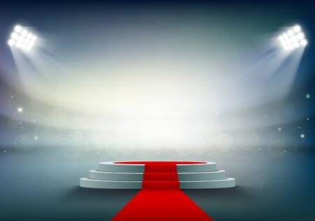 Round stage or podium with a red carpet. Award ceremony at the stadium. Vector illustration Ilustracja