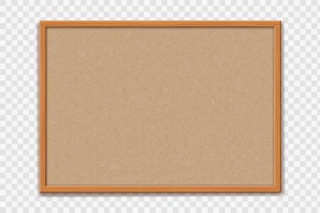 Empty office cork bulletin board template for worksheet. Mockup isolated on a transparent background. Vector illustration