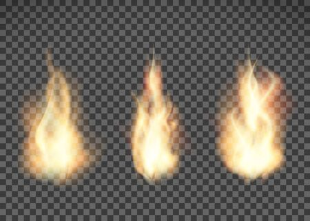 Fire texture. Flame pattern isolated on transparent background. Vector illustration. Vetores