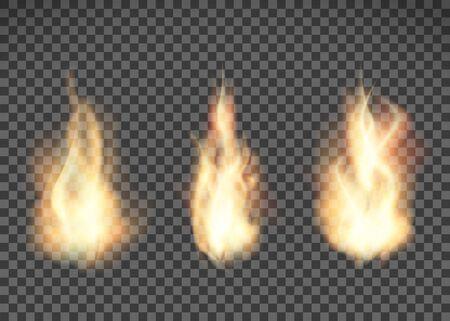 Texture de feu. Motif de flamme isolé sur fond transparent. Illustration vectorielle. Vecteurs