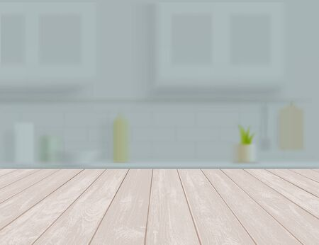 Empty wooden table or shelf in the kitchen. Textured backdrop. Vector illustration. Stock Illustratie