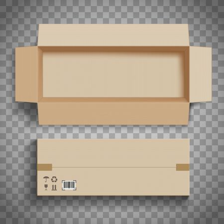 Empty open and closed cardboard box for delivery. Isolated on a transparent background. Vector illustration. Vettoriali