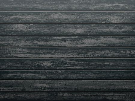 Black wooden textured background. Kitchen table or cutting board template. Vector illustration.