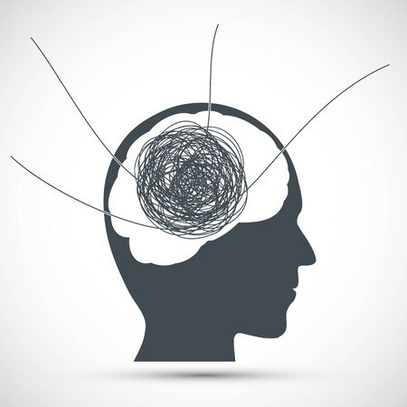 Human head with a tangled ball of thread inside. Mental health icon. Split mind and psychological health. Vector illustration.