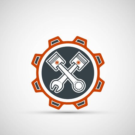 Car service and mechanic repair logo. Tools in the gear. Vector icon