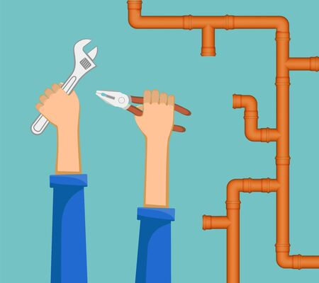 Male plumber repairs a water pipe with a tool. Vector illustration