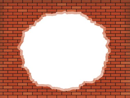 White hole in broken red brick wall. Vector background.
