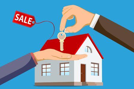house keys to the buyer. Buy real estate. Ilustración de vector