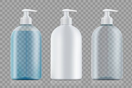 Set of bottles with soap and empty. Package template isolated on transparent background.