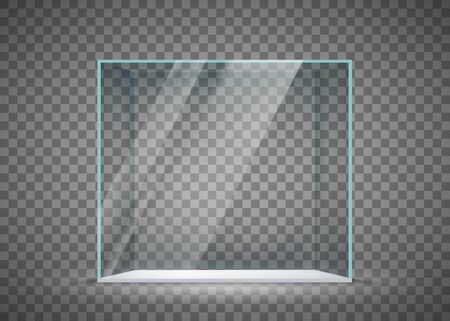 Glass empty cube isolated on a transparent background. Vector template
