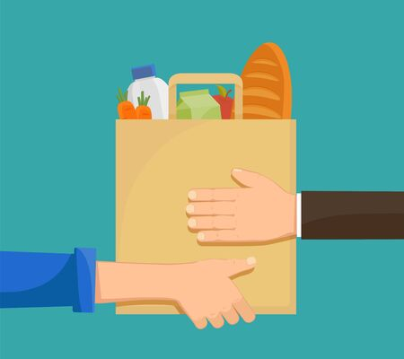 Courier gives the buyer a paper bag with groceries. Food delivery. Vector illustration