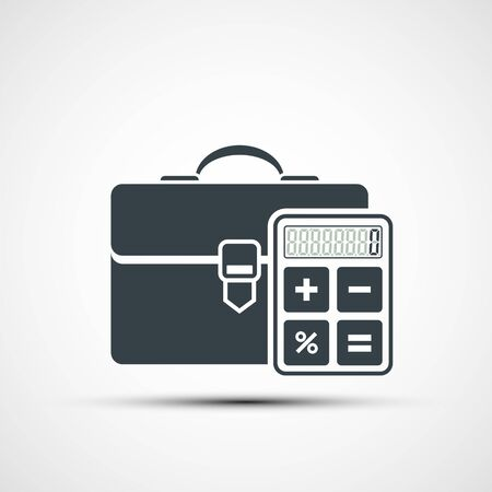 Briefcase icon with a calculator. Logo isolated on a white background. Vector illustration.