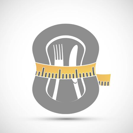 Measuring tailor tape around plate with knife and fork. Diet icon. Vector illustration.