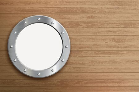 Round metal window. Porthole on a wooden wall. Vector background