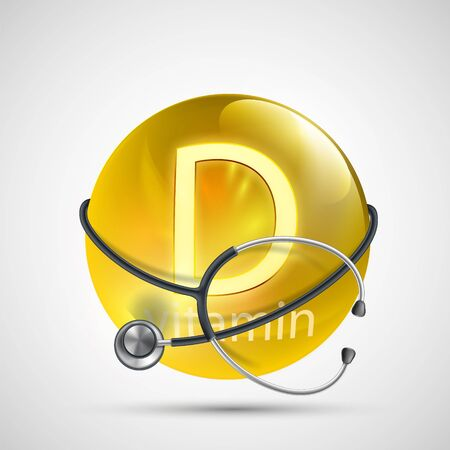 Yellow pill vitamin D with a medical equipment stethoscope. Vector icon. Illustration
