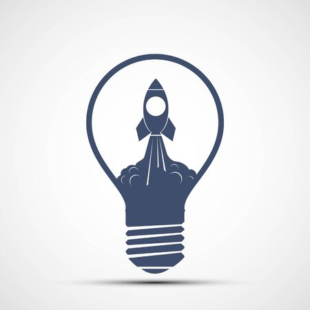Take off rocket inside a light bulb. Logo isolated on a white background. Vector icon.