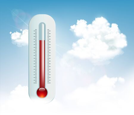 Summer heat. Thermometer indicates a high temperature. Global warming. Vector illustration.