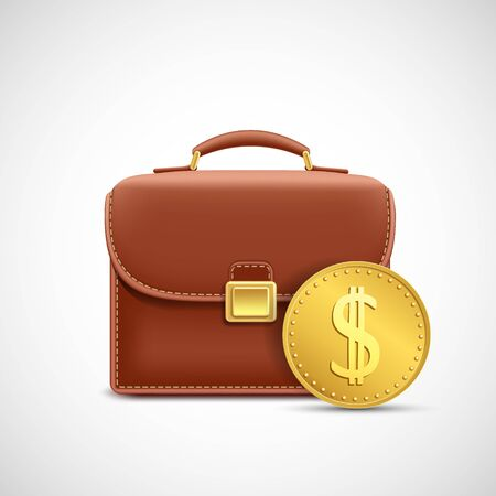 Briefcase with a golden coin. Icon isolated on a white background. Vector illustration.