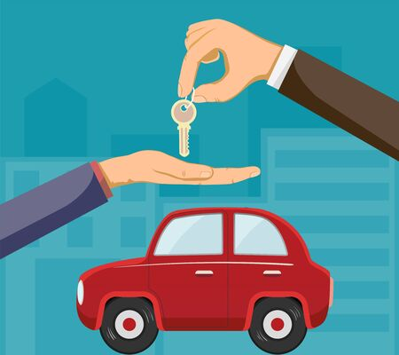 Seller of the car dealership gives the buyer the keys. Buying a car. Vector flat graphic illustration.