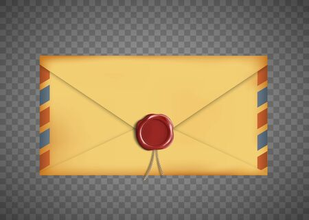 Old vintage closed envelope with a wax seal. Isolated on a transparent background. Vector illustration Çizim