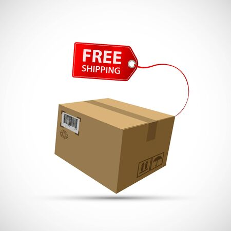 Cardboard box with free shipping label. Icon isolated on a white background. Vector illustration
