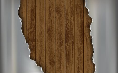Metal polished torn plate on a wooden background. Broken steel textured panel. Vector illustration.