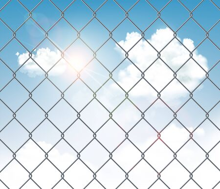 Fence made of metal wire mesh with a blue sky in the background. Vector illustration.