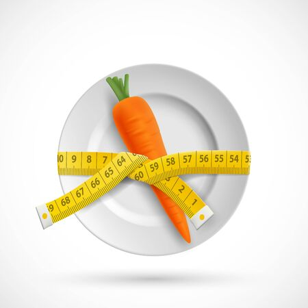 Measuring tailor tape is wrapped around a plate with carrot vegetable. Diet and healthy eating. Vector icon