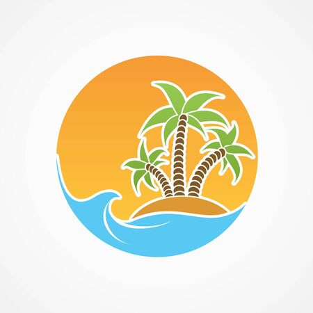 Travel icon. Beach with palm trees against the backdrop of the summer sun. Vector logo.
