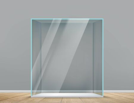 Glass empty transparent cube indoors. Showcase for presentation. Vector template Çizim