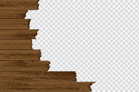 Broken wood boards isolated on a transparent background. Vector illustration