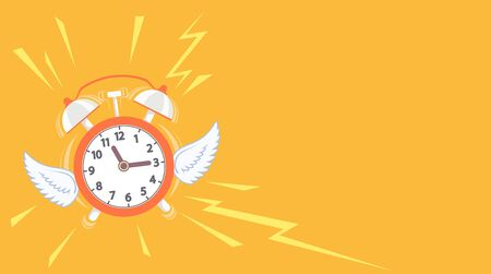 Alarm clock with wings flies away. Copy space background. Vector illustration.