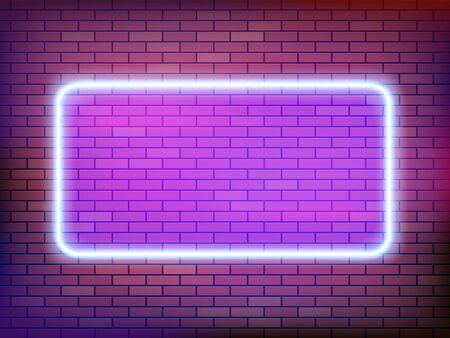 Square neon frame on a brick wall. Empty template for text. Vector background Vector Illustration