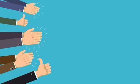 Human hands clap and applaud. Thumb up gesture. Vector cartoon illustration Ilustración de vector