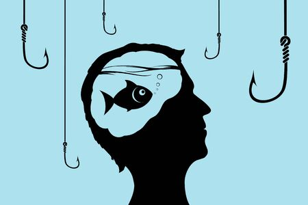 Fish inside a human head looking at fishhooks. Concept of lies and deception. Vector illustration Stock Illustratie
