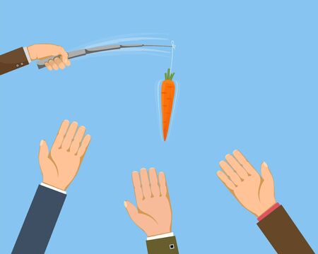 Businessman lures people with a carrot on a fishing rod. Vector illustration. Illustration