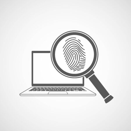 Icon magnifier with fingerprint in front a laptop. Isolated on a white background. Vector logo