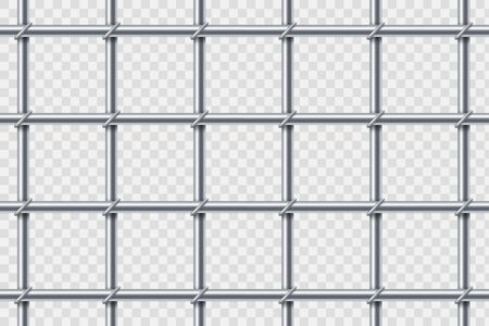 Metal prison cell bars. Template isolated on a transparent background. Vector illustration.