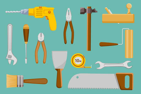 Set collection of construction hand tools. Vector illustration in the style of a flat graphic.