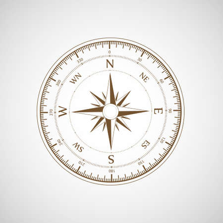 Compass wind rose. Retro template. Icon isolated on a white background. Vector illustration.