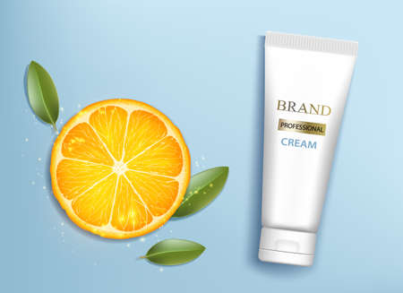 Tube cream with orange slice. Template package cosmetic moisturizing suntan lotion. Vector illustration Ilustración de vector