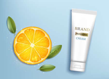 Tube cream with orange slice. Template package cosmetic moisturizing suntan lotion. Vector illustration Vector Illustration