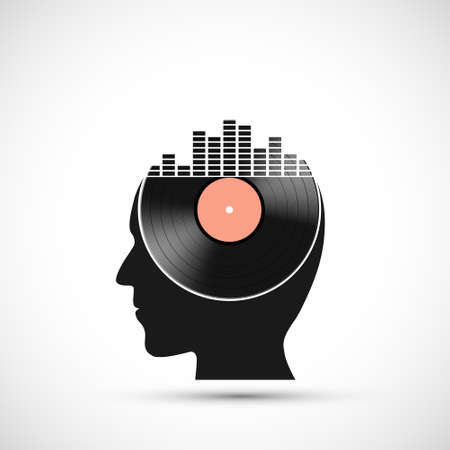 Vinyl record disc with a sound equalizer in the human head. Vector icon.