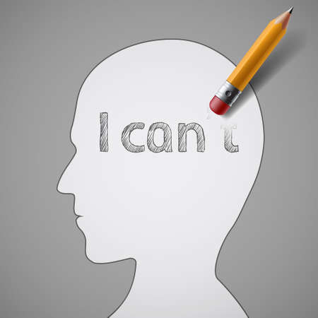 Eraser erases a word I can't in the human head. Positive thinking. Vector illustration. Vettoriali