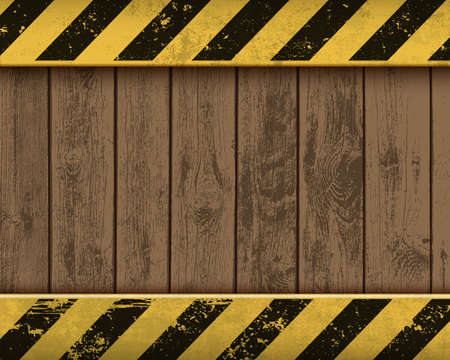 Metal plate with yellow stripes on wooden background. Vector blank template for text Ilustração