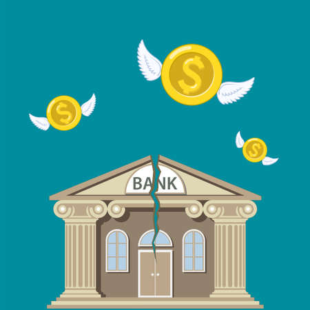 Bank building with a crack. Gold dollar coins with wings fly away. Financial bankruptcy. Vector illustration. Illusztráció