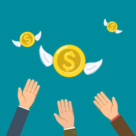 Gold coins currency dollar with wings fly away from people. Vector illustration