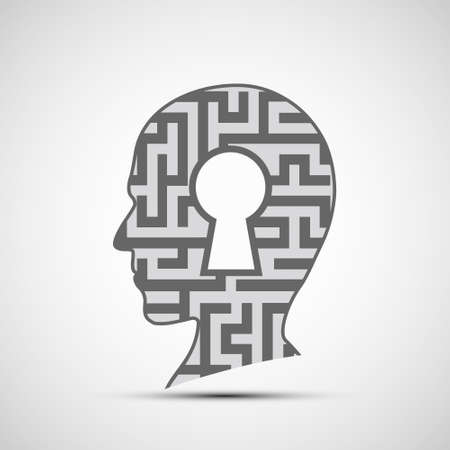 Human head with a maze and a keyhole inside. Vector icon