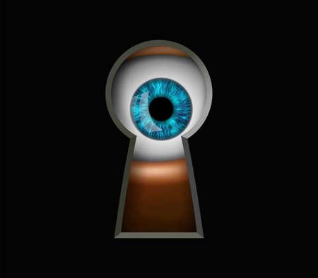 Human eye looking through a keyhole. Peeping and curiosity. Vector illustration.