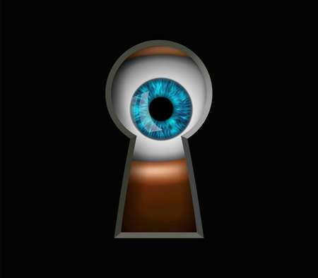 Human eye looking through a keyhole. Peeping and curiosity. Vector illustration.